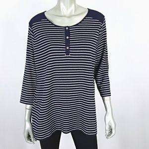 Plus Size 2X Blue Silver Metallic Stripe Top